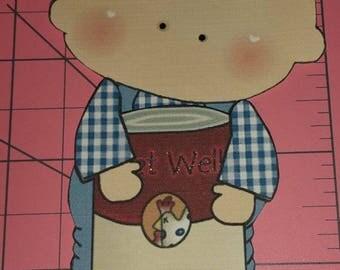 A043 3D Handmade Hand Cut Paper Piecing Get Well Boy Soup Scrapbooking Cardmaking Embellishment Die Cut