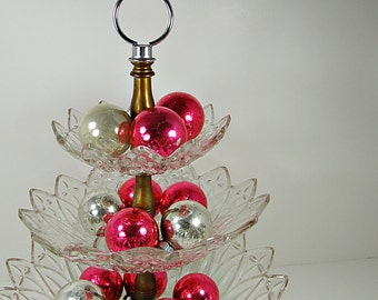 Vintage MERCURY GLASS ORNAMENTS Hot Pink Christmas Tree Set/10 Bowl Fillers