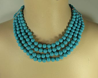 Vintage TURQUISE BEADED NECKLACE Rhinestone Accents Beads 4 Strand Costume Jewelry