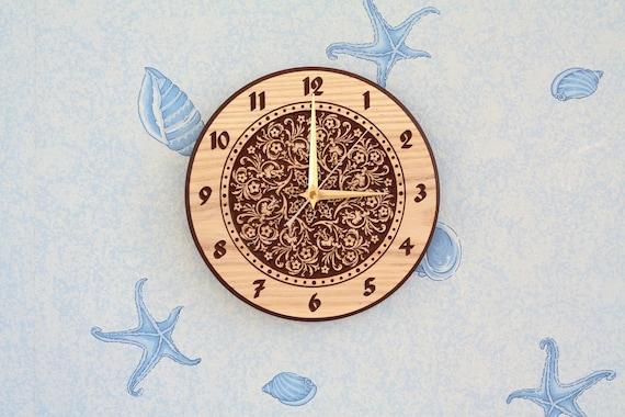 Flower clock Flower design Wood wall clock Wood clock Wooden clock Round clock Christmas gift Birthday gift Room decor for Kitchen decor