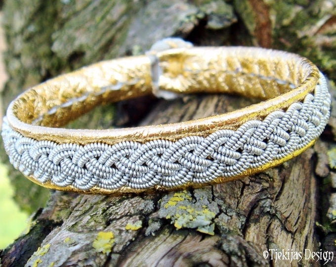 Gold Viking Bracelet ASGARD Pewter and Leather Saami Bracelet | Nordic Unisex Jewelry Handcrafted to your wishes