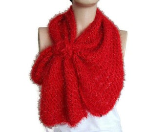 Bow scarf, Tie scarf, Red knit scarf, Hand Knit Bow Tie Scarf, Girl gift for her, Hand Knit scarf with Bow, Red metallic scarf, Red scarf.