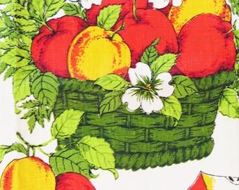 Parisian Prints Kitchen Towel, Vintage 60s Linen Tea Towel, Apples Flowers, Fruit Basket, Red Yellow Green, Screenprint Towel, New with tags