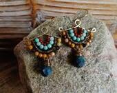 Canyon. Artisan Gold Brass Fan Drop Earrings with Wire Wrapped Mookaite, Smoky Quartz, Red Jasper, Chalcedony-Gypsy Boho Southwest Native