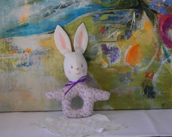 Baby Bunny Rattle - Baby's First Toy - Soft Fabric Rattle - Baby Shower Gift - Infant Room Decor - Easter Basket Bunny - Stocking Stuffer