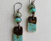 Dipped - handmade artisan bead ceramic turquoise long drop bohemian rustic earrings  - Songbead UK narrative jewellery, earthy