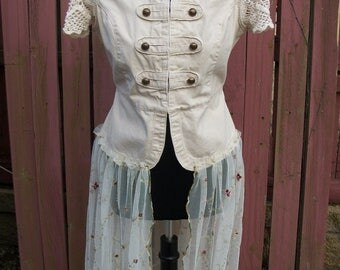 Cream Military Duster Jacket - Altered Upcycled Gypsy Clothing - Medium