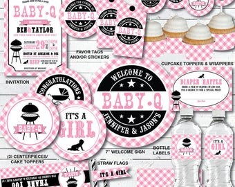 BBQ Baby Shower Decorations Pink -Baby Q Decorations Girl Pink Gingham - Couples Baby Shower - DIY Printable PDF Files