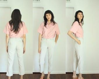 Vintage Liz Sport Linen Cropped Neutral Minimalist Pants