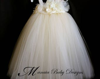 Ivory Vintage Tutu Dress / Ivory Flower Girl Dress / Ivory Tutu Dress