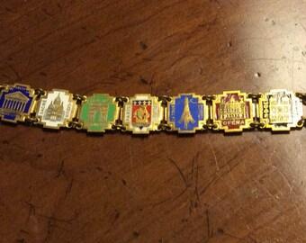 Vintage Enameled Charm Bracelet European Landmarks