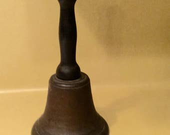 Huge Antique School Bell Wooden Handle Brass farmhouse