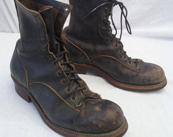 Boots Chippewa size 12 D brown chocolate leather vintage