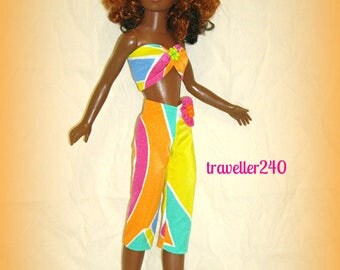 "Doll Clothes for 19"" Vintage Tiffany Taylor, ""Caribbean Queen"", Bold Multicolor Geo Print Top and Capri Pants, Handmade by traveller240"