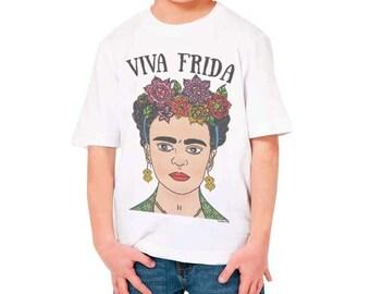 Frida Kahlo Kids T-shirt-Frida Kahlo girls t-shirt-Frida Kahlo-Frida boy t-shirt-Frida girl t-shirt-children clothing-NATURA PICTA-NPTS093