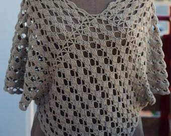 Crochet Lace Top - Taupe Summer Top - knit light