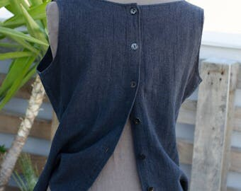 Dorin Frankfurt Black Linen Top - 90's Open Back Top - Black Button Vest