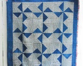 "Pinwheel Quilt, Organic Quilt, Wall Hanging, Hand-Dyed Indigo and Grey Quilt 40"" x 52"""