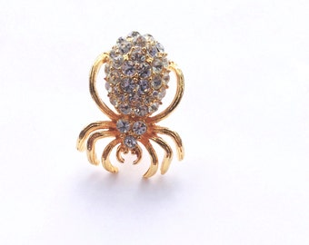 Rhinestone Spider Pin Gold Insect Scatter Pin Vintage Fashion Figural Jewelry