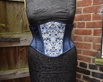 """Deep blue silk satin short underbust corset (28"""" waist)"""