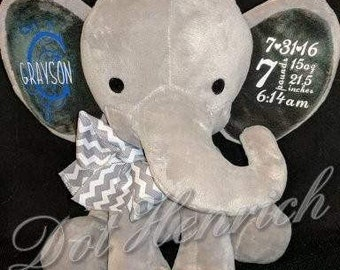 Personalized Elephant, Monogrammed Ears, Baby, Stuffed toy Elephant Stuffed animal