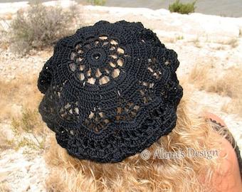 Crochet Pattern 075 - Crochet Lace Beret Alena - Crochet Hat Pattern Crochet Patterns Adult Slouchy Lace Hat Girls Ladies Women S M L sizes