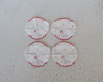 Embroidered Wine Glass Slippers 4 Coasters Linen Slip On Doilies Chickens Hand Made Vintage