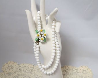 Vintage Daisy Fancy Clasp White Glass Bead Necklace Double Strand