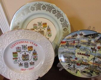 Canada Souvenir Plates Set, 3 Canada Plates, Vintage China Plates, Canada China, Coat of Arms Plate, Canada Centennial