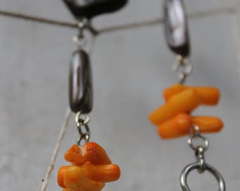 Funky Bold Orange CORAL and Mother of Pearl Dangle Earrings