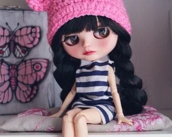 Bear hat. Ear hat for newborn prop. ooak Blythe bear hat. Blythe accessories. Blythe doll hat. Camel bear, pink bear hat