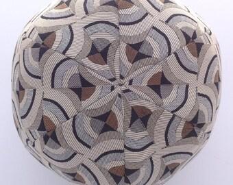 Black and Grey Kaleidoscope Ball Pillow- Large Ball Throw Pillow- Round pillow- Black, Grey and Brown- by beckyzimmdesign