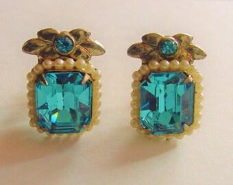 1940's March Aquamarine Faux Pearl Screw Back Earrings Vintage Jewelry
