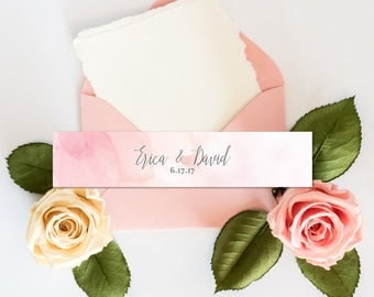 Pink Watercolor Belly Bands | Printable Belly Bands | Printed Belly Bands | Pink Floral Wedding Suite | Custom Belly Bands