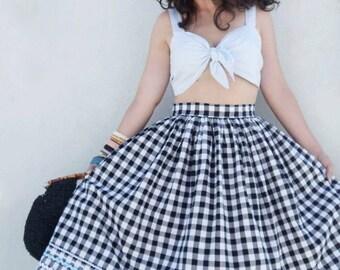 Vintage 1950s inspired gingham full skirt