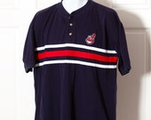 90s Cleveland INDIANS Polo Shirt - navy red - L