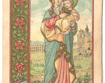 Our Lady the Sacred Heart & Baby Jesus Antique French Holy Prayer Card, Goldprint, Rose Border