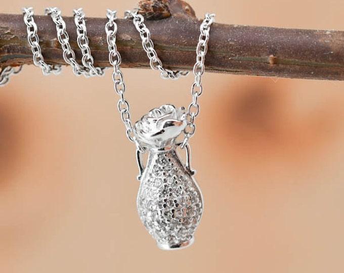 Vase Necklace, Vase Pendant, Vase Jewelry, 925 Sterling Silver, Crystal Necklace Pendant, Bridesmaid Gift,Bridesmaid Necklace
