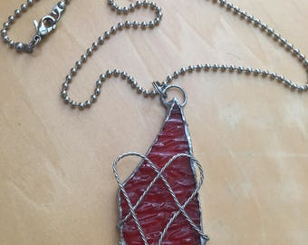 Handmade Stained Glass Necklace Jewelry, wire heart jewelry, Statement Jewelry pendant