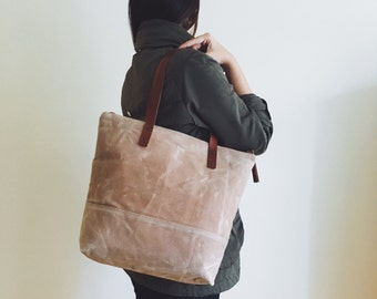 Waxed Canvas Tote in Beige - Brown Leather Handles - Dotted Lining - Shoulder Bag - Handbag - Men Bag - Men Tote