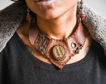 EUPHORIA 101⎜Boho tribal leather necklace with gemstone⎜Dystopia Tribal jewelry⎜Burning man festival necklace ⎜Alternative jewelry