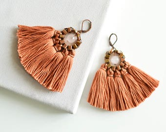 Auburn Tassel Earrings, Orange Red Earrings, Fringe Earrings, Hippie Earrings, Bohemian Chandeliers, Brown Earrings, Folk Earrings