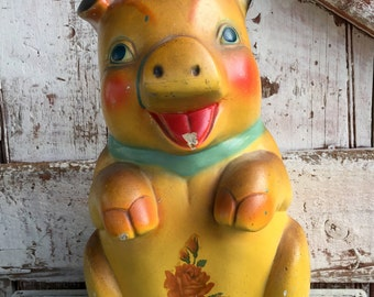Large chalk ware piggy bank yellow and green vintage pig money bank