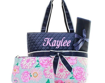 Monogrammed Diaper Bags Personalized Quilted Diaper Bags Flower Pattern Diaper Bag Monogrammed Diaper Bag 3 Piece Quilted Diaper Bags Set