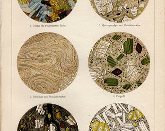 1880s ANTIQUE MINERAL PRINT, granite, quartz, basalt, original antique natural sciences print