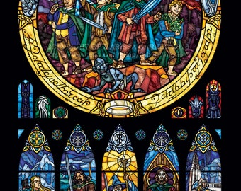 Full Size - The Fellowship of the Ring Stained Glass Illustration