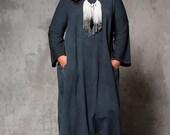 Oversize Blue maxi japanese dress - women large long sleeves maxi dress - oversize blue winter maxi dres - casual dress
