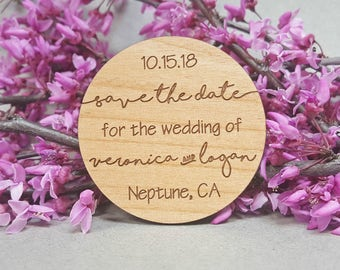 FREE US SHIPPING - Wedding Save the Date Magnets - Custom Engraved Wood Magnets