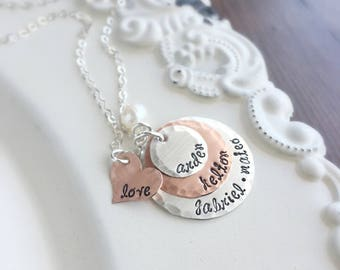 Mother Necklace . Personalized Necklace. Name Necklace . Grandmother Necklace . Personalized Jewelry . Engraved Names . Custom Jewelry