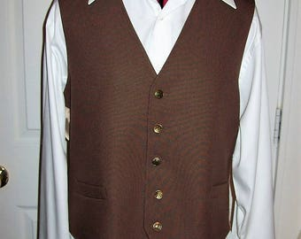 Vintage 1970s Mens Brown Button Front Dress Vest Medium Only 7 USD